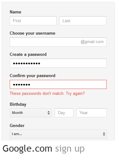 Sign up for a website password field one vs two Google sites sign in