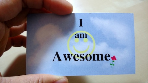 """Ron let me read the card loud """"I am awesome"""""""