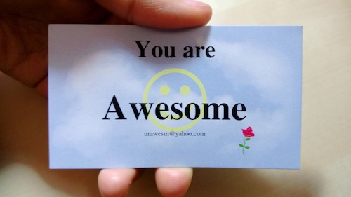 "Ron showed me a card ""You are Awesome"""