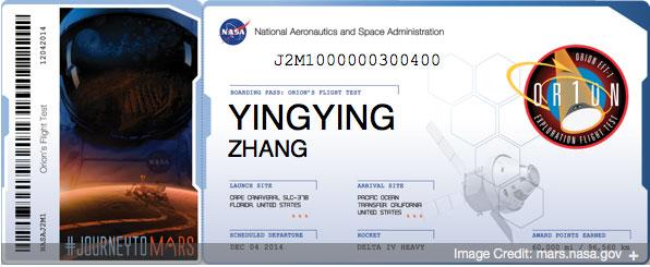 NASA ORION Boarding Pass Yingying Zhang